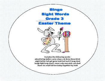 Easter Bingo Game- Sight Words Grade 3
