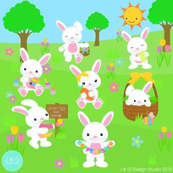 Easter Bunnies Clip art  Colors