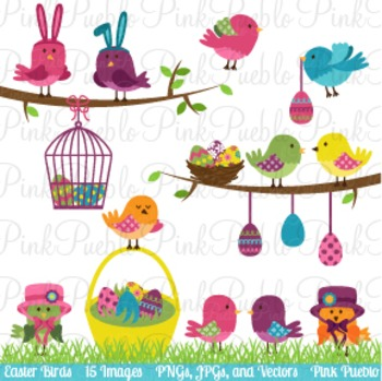 Easter Birds Clip Art - Commercial and Personal