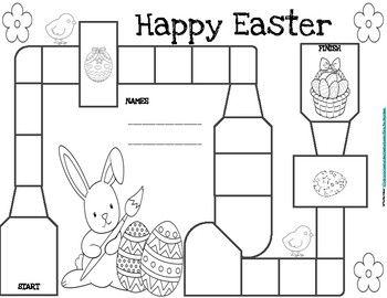 Easter Board Game and Coloring Page