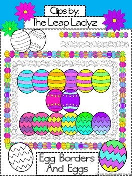 Easter Borders and Decorated Eggs Clip Art