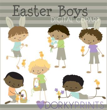 Easter Boys Digital Clipart