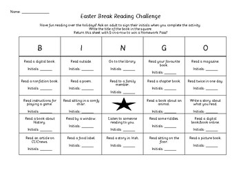 Easter Break Reading Challenge - Bingo - Homework