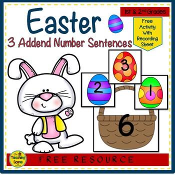 Easter Build 3 Addend Number Sentences {FREE}