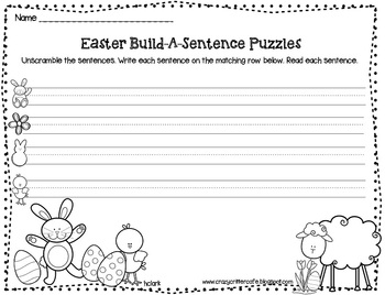 Easter Build A Sentence Puzzles {Literacy Freebie}