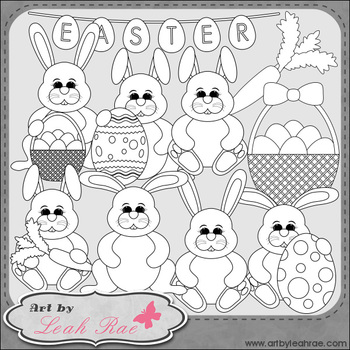 Easter Bunnies 1 - Art by Leah Rae Clip Art & Line Art / Digital Stamps