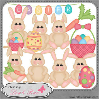 Easter Bunnies 1 - Art by Leah Rae Clip Art & Line Art / D