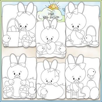Easter Bunnies Clip Art - Easter Clip Art - CU Clip Art & B&W