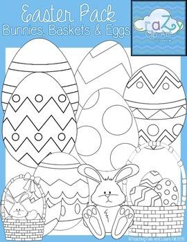 Easter Bunnies, Baskets & Eggs Clip Art Pack {CraZy Clip Art}