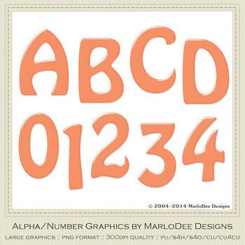 Easter Bunnies Candy Reddish Orange Alpha & Number Graphics