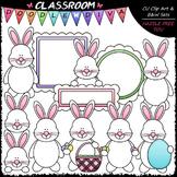 Easter Bunnies Clip Art - Easter Clip Art & B&W Set