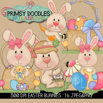 Easter Bunnies Clipart Collection