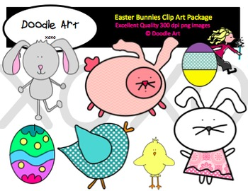 Easter Bunnies Clipart Pack