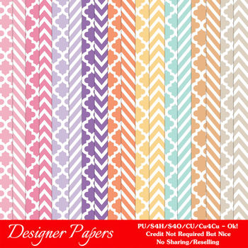 Easter Bunnies Digital Papers 2 A4 Size Chevron & Quatrefo