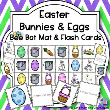 Easter Bunnies & Eggs Bee Bot Mat and Flash Cards