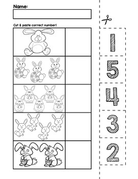 Easter Bunnies Number Cut & Match Worksheets | Numbers 1-5 by preKautism