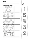 Easter Bunnies Number Cut & Match Worksheets | Numbers 1-5