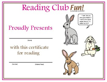 Easter Bunnies Reading Log and Certificate Set
