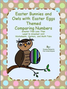Easter Bunnies and Owls with Easter Eggs Comparing Numbers Greater Than...