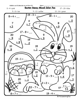 Easter Bunny Addition Color Fun