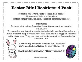 Easter Bunny Adventures Mini Books: 4 Pack of Easy Sight Word Readers