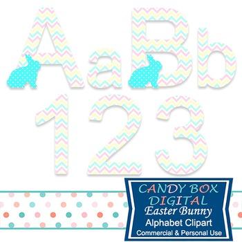 Easter Bunny Alphabet Clip Art, Easter Font