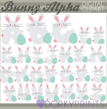 Easter Bunny Alphabet Digital Clip Art