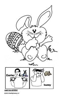 easter bunny american sign language coloring page