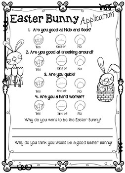 Easter Bunny Application Questionnaire Form