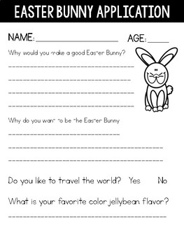 Easter Bunny Application and Persuasive Writing