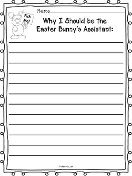 Easter Bunny Assistant Application and Persuasive Writing Piece