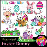 Easter Bunny  - B/W & Color clipart, illustration {Lilly S