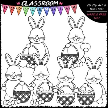 Easter Bunny Builds A Basket Clip Art - Sequencing Clip Art & B&W Set