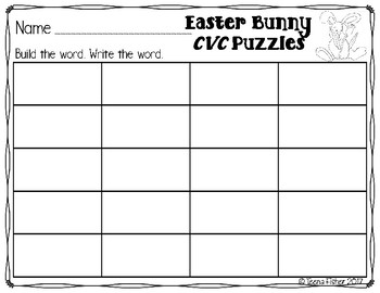 Easter Bunny CVC Short Vowel Puzzles Easter File Folder Game Literacy Center