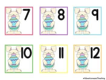 Easter Bunny Calendar Numbers