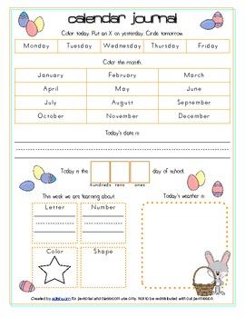 Easter Bunny Calendar/Circle Time Journal Sheet