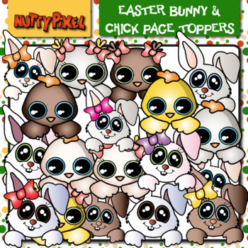 Easter Bunny & Chick Frame Toppers - Clip Art
