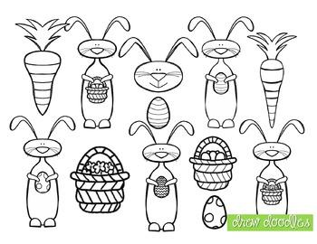 Easter Bunny Clip Art- Black Line Version