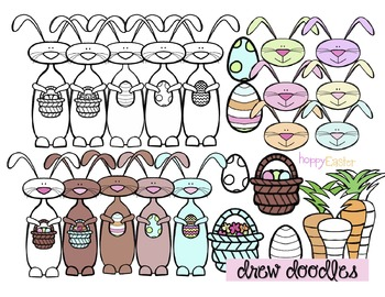 Easter Bunny Clip Art- Color and Black Line COMBO