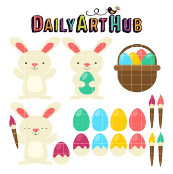 Easter Bunny Clip Art - Great for Art Class Projects!