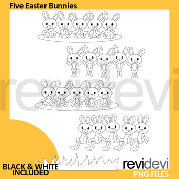 Easter Bunny Clip Art (five bunnies clipart)