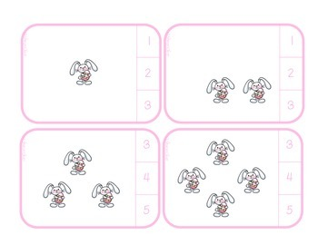 Counting from 1 to 20 with Easter Bunny Clip Cards