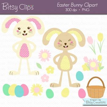 Easter Bunny Clipart Digital Art Set INSTANT DOWNLOAD Easter Clipart