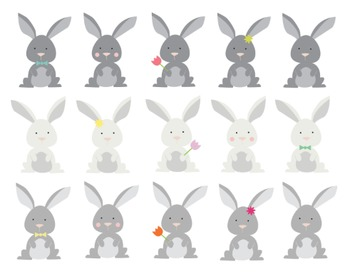 Easter Bunny Clipart, Easter Bunny Set #205