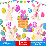 Easter Bunny Clipart, Easter Clipart, Easter Eggs Graphic,