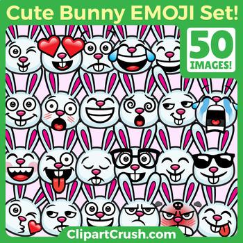 Easter Bunny Clipart Faces. Cute Cartoon Easter Rabbit Emoji Emotions Clip Art