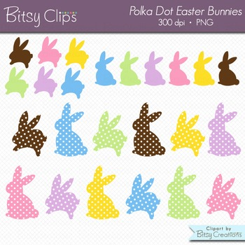 Easter Bunny Clipart - Polka Dot Easter Bunnies - Digital Art Set