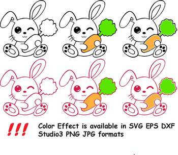 Easter Bunny Clipart Silhouette Glitter Rabbit Carrot Egg Hunt Outline 758s