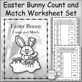 Easter Bunny Count and Match Worksheet Set