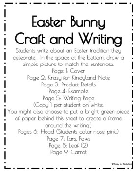 Easter Craft and Writing: Bunny